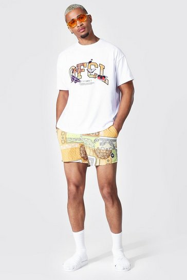 Yellow Oversized Bandana Print Tee & Swim Short Set