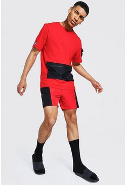 Red Man Colour Block Cargo Swim Short Set