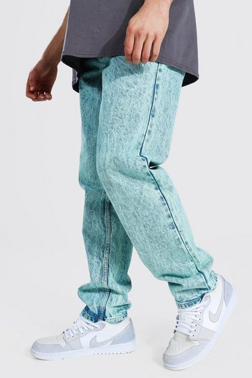 Green Relaxed Fit Acid Wash Jean