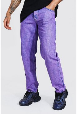 Purple Relaxed Fit Acid Wash Jean