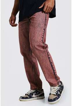Brown Relaxed Fit Acid Wash Jean