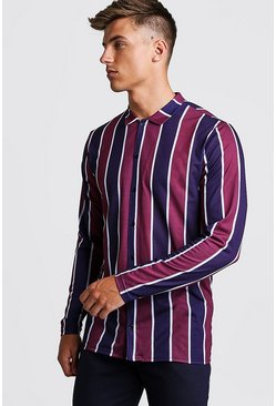 Burgundy red Long Sleeve Stripe Shirt