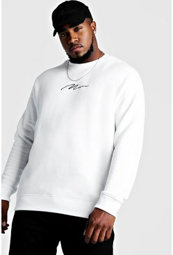 White Plus Size MAN Script Sweater