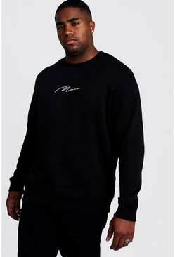 Black Plus Size MAN Script Sweater