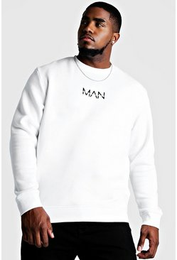 White Big and Tall MAN Dash Sweater