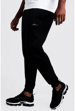 Black svart Big & Tall - MAN Slim fit joggers med brodyr