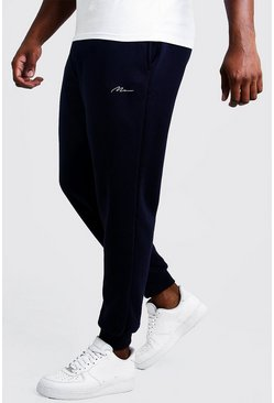 Navy marinblå Big & Tall - MAN Slim fit joggers med brodyr