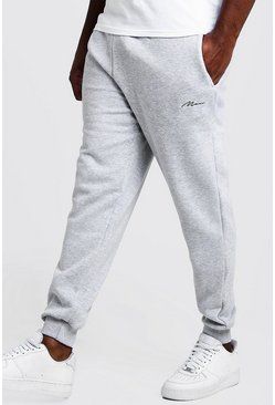 Grey marl grå Big & Tall - MAN Basic skinny joggers med brodyr