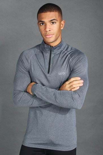 Charcoal grey MAN Active Funnel Neck Muscle Fit Marl Top