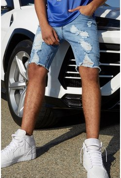 Light blue blue Slim Fit Denim Shorts With All Over Rips