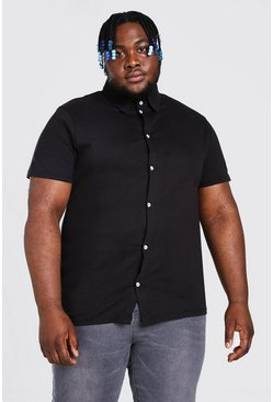 Black Plus Size Basic Short Sleeve Jersey Shirt