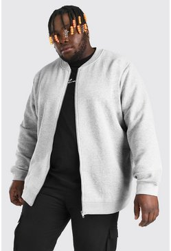 Big & Tall - Bomber en jersey basique, Gris chiné gris