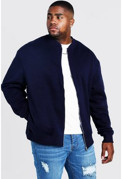 Navy Plus Size Basic Jersey Bomber