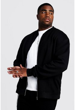 Black Big and Tall Basic Jersey Bomber