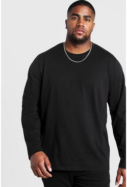 Black Big and Tall Basic Long Sleeve T-Shirt