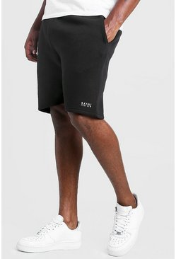 Black svart Big & Tall - MAN Shorts i skinny fit med brodyr
