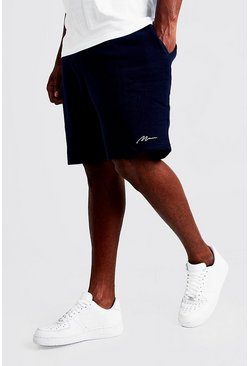 Navy Plus Size MAN Script Skinny Fit Short