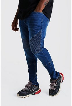 Blue Big & Tall Skinny Fit Biker Jean