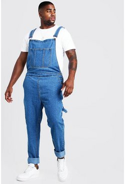 Mid blue blue Big & Tall Slim Fit Rigid Denim Dungarees