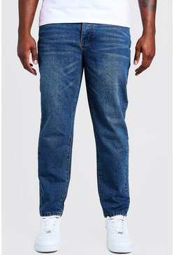 Big & Tall Steife Slim Fit Jeans, Vintage-waschung blau