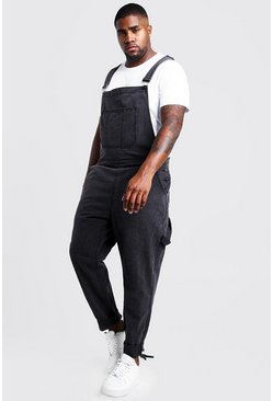 Charcoal grey Big & Tall Slim Fit Rigid Denim Dungarees