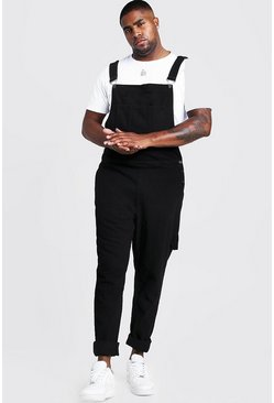 Black Plus Size Slim Fit Rigid Denim Dungarees
