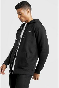 Black MAN Signature Zip Through Fleece Hoodie