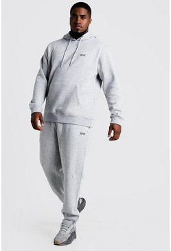 Grey marl grey Plus Size MAN Dash Hooded Tracksuit