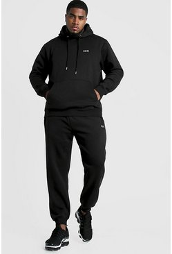 Black Big and Tall MAN Dash Hooded Tracksuit