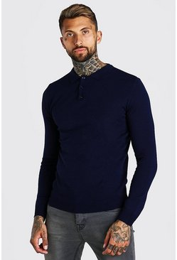 Navy Muscle Fit Long Sleeve Knitted Polo
