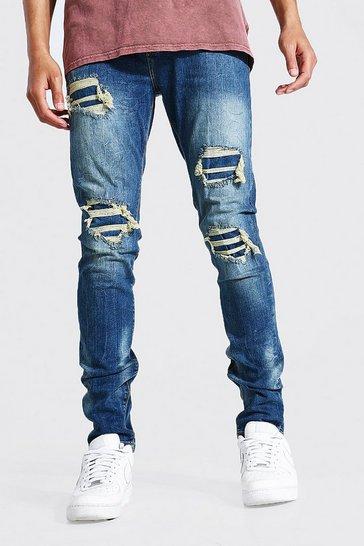 Indigo blue Tall Skinny Stretch Rip And Repair Jean