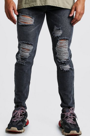 Mid grey grey Slim Fit Rigid Distressed Denim Jeans