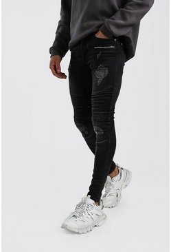 Washed black Spray On Skinny Biker Jeans With Zips
