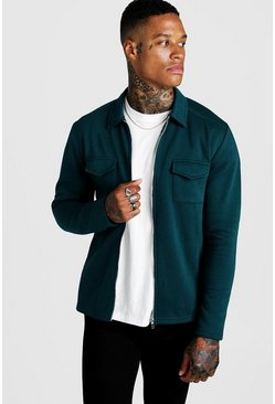 Teal green Jersey Utility Zip Shacket