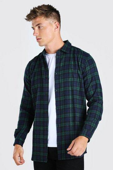 Green Long Sleeve Longline Flannel Check Shirt