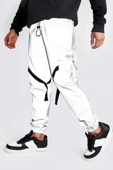 Silver Reflective Utility Joggers with MAN Print