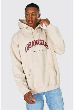 Oversized Los Angeles Printed Hoodie, Sand beige