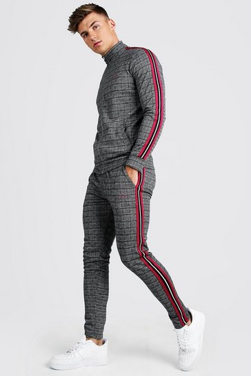 Raspberry pink MAN Signature Skinny Fit Jacquard Tracksuit With Tape