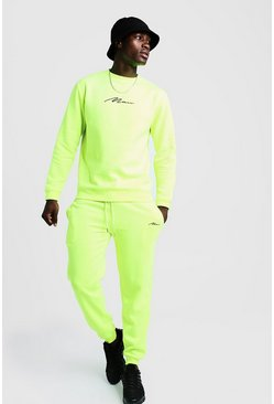 Neon-yellow yellow MAN Signature Regular Sweater Tracksuit