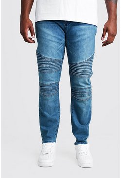 Mid blue blue Big & Tall Skinny Fit Jean With Biker Detail