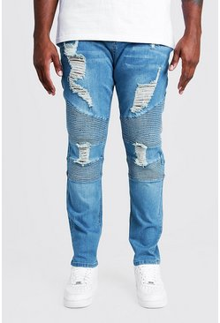Mid blue blue Big & Tall Skinny Fit Biker Jean Extreme Rips