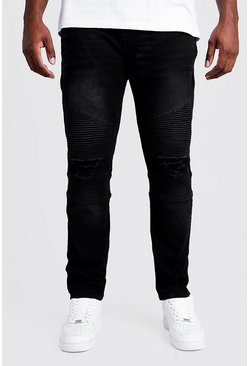 Washed black Big & Tall Biker Detail Skinny Fit Jean