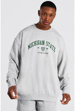 Grey marl grey Oversized Michigan Varsity Printed Sweatshirt