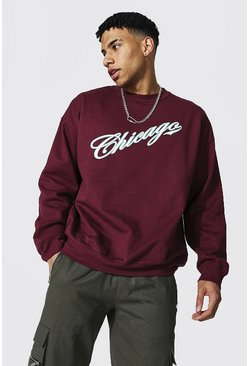 Oversized Chicago Varsity Printed Sweatshirt, Wine Красный