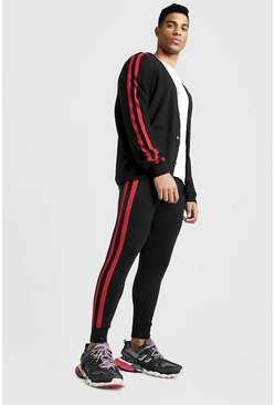 Black Knitted Cardigan & Jogger Set With Side Stripes