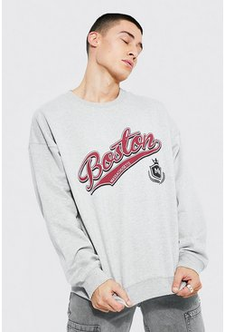 Grey marl grey Oversized Boston Varsity Printed Sweatshirt