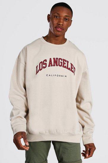 Sand beige Oversized Los Angeles Printed Sweatshirt