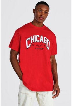 Camiseta ancha con estampado universitario Chicago, Rojo