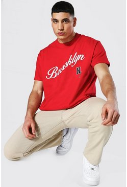 Red Oversized Brooklyn Varsity Printed T-shirt