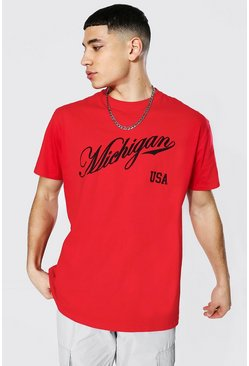 Camiseta ancha con estampado universitario Michigan, Rojo